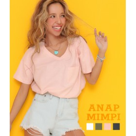 【セール開催中】ANAP(アナップ)スラブ地VネックバックテールTシャツ