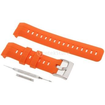 交換ベルト 高級シリコンベルト 通気穴設計 柔軟でスポーツ仕様 多色選択 接続工具付 全8色 - シルバー オレンジ