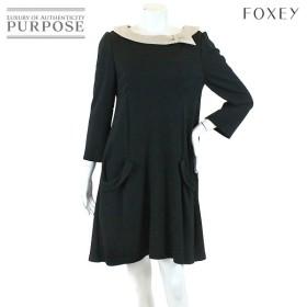 フォクシー ニューヨーク FOXEY NEW YORK ワンピース 七分袖 襟付き ブラック サイズ 42 レディース