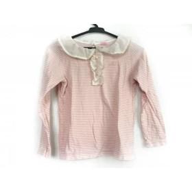 【中古】 メゾピアノ mezzo piano 長袖Tシャツ サイズS ユニセックス 白 ピンク ボーダー/フリル