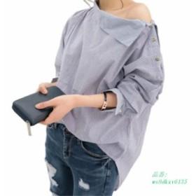 2019 春 女性 ファッションカジュアルセクシーな歪んストライプ長袖送料プラスサイズバット翼形状スリーブ女性ブラウスシャツ