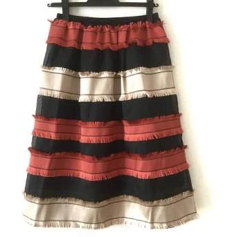 【中古】 チェスティ Chesty スカート サイズ0 XS レディース 黒 オレンジ ベージュ ボーダー