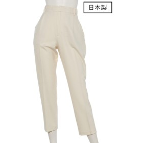 72%OFF PARLMASEL (パールマシェール) 【日本製】ジョーゼット裏起毛テーパードパンツ ホワイト