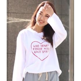 リアルスタイル ハート×英字ロゴプリントTシャツ レディース ホワイト F 【REAL STYLE】