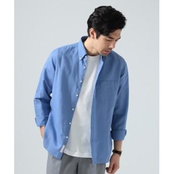 BEAMS LIGHTS / COOLMAX(R) リネンコットン ボタンダウンシャツ メンズ ドレスシャツ SKY AZURU L