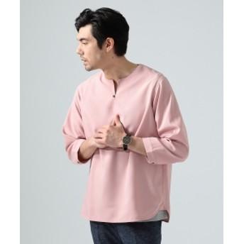 BEAMS LIGHTS / リネン調 7分袖 プルオーバーシャツ メンズ カジュアルシャツ PINK S