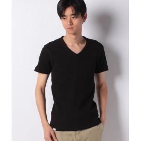 エドウィン EDWIN ワッフル Vネック Tシャツ 半袖 メンズ ブラック XL 【EDWIN】