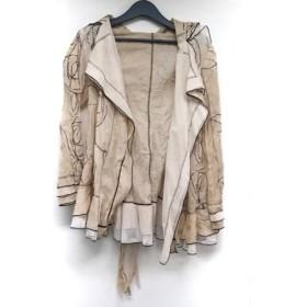 【中古】 エイココンドウ ジャケット サイズ42 L レディース 美品 ベージュ ダークブラウン マルチ