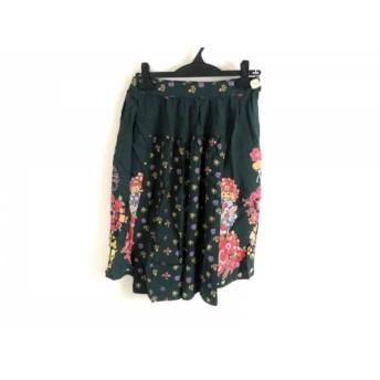 【中古】 ムチャチャ muchacha スカート サイズ1 S レディース グリーン ピンク マルチ 花柄