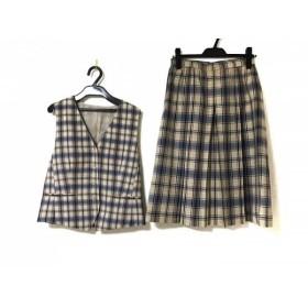 【中古】 ダックス DAKS スカートセットアップ サイズ9 M レディース ベージュ ブルー ダークグレー