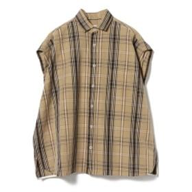 TICCA / 別注 チェック フレンチスリーブシャツ レディース カジュアルシャツ BEIGE/BLK ONE SIZE