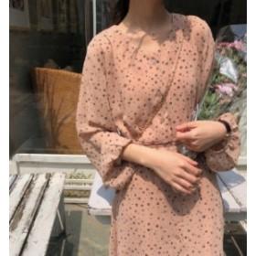 オルチャン 韓国 ファッション ワンピース シャツワンピース シャツワンピ ロング丈 花柄 Vネック 長袖 ゆったり レトロ 大人可愛い