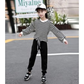子供服 ストライプセット春秋 新作 韓国 女の子 長袖カジュアル 2点セット