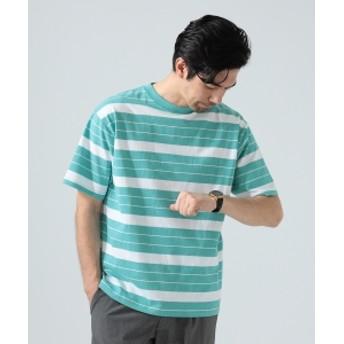 【予約】BEAMS LIGHTS / ヘビーウェイト ボーダー ビッグ Tシャツ メンズ Tシャツ M.GRN×WHT S