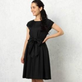 ドレス パーティドレス 半袖 シンプル 無地 ウエストリボン ひざ丈 クルーネック お呼ばれ 結婚式 春夏 U-219