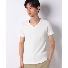 エドウィン EDWIN ワッフル Vネック Tシャツ 半袖 メンズ ホワイト S 【EDWIN】