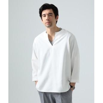 BEAMS LIGHTS / リネン調 7分袖 プルオーバーシャツ メンズ カジュアルシャツ WHITE S