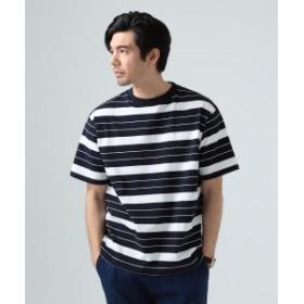 【予約】BEAMS LIGHTS / ヘビーウェイト ボーダー ビッグ Tシャツ メンズ Tシャツ NAVY×WHT M