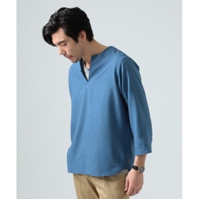BEAMS LIGHTS / リネン調 7分袖 プルオーバーシャツ メンズ カジュアルシャツ INDIGO M