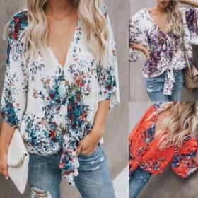 2019 秋と冬 ファッション新しい女性 デジタル印刷大サイズストラップシフォンシャツ Tシャツ