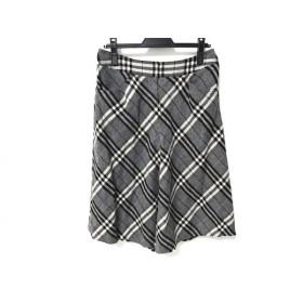 【中古】 バーバリーロンドン スカート サイズ42 XL レディース グレー 黒 ブルー チェック柄