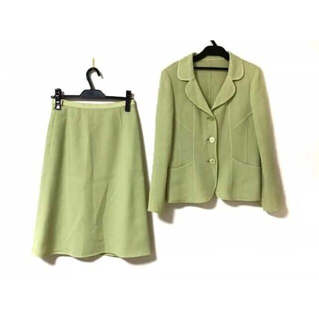 【中古】 ハナエモリ HANAE MORI スカートスーツ サイズ38 M レディース ライトグリーン 肩パッド