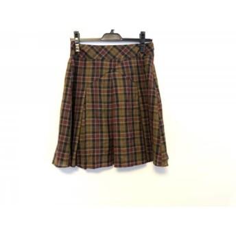 【中古】 ブラックレーベルポールスミス スカート サイズ38 M レディース ブラウン マルチ チェック柄