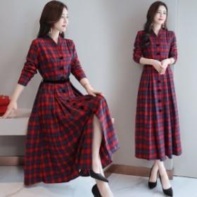 ギンガムチェックワンピ チェック ワンピース シャツ ボタン シャツスリーブ ゆったり ロング丈 Aライン スカート コード:583