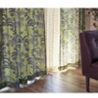 ヤシの木プリントの麻入りカーテン