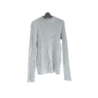 【中古】 アニエスベー agnes b 長袖セーター サイズ2 M メンズ ライトグレー 黒 ハイネック