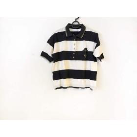【中古】 バレンザポースポーツ 半袖ポロシャツ サイズM レディース 黒 アイボリー ゴールド ボーダー