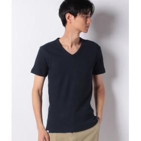 エドウィン EDWIN ワッフル Vネック Tシャツ 半袖 メンズ ネイビー XL 【EDWIN】