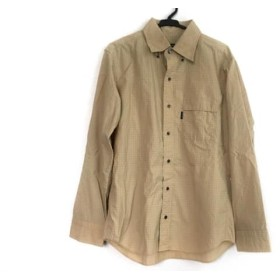 【中古】 バーバリーブラックレーベル 長袖シャツ サイズ2 M メンズ ベージュ 白 チェック柄