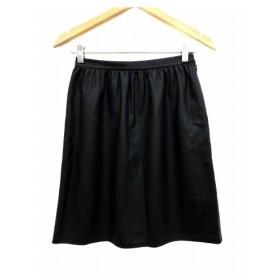 グリーンレーベルリラクシング ユナイテッドアローズ green label relaxing スカート 台形 ひざ丈 フェイクレザー 36 黒 ブラッ
