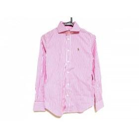 【中古】 ポロラルフローレン 長袖シャツブラウス サイズ0 XS レディース 美品 ピンク 白 ストライプ