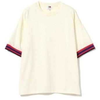 FRUIT OF THE LOOM × BEAMS BOY / リブライン Tシャツ レディース Tシャツ OFF WHITE ONE SIZE
