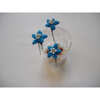 ブルー 小さいお花のUピン 3本セット
