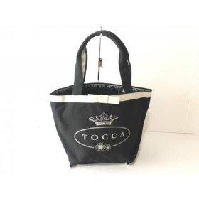 【中古】 トッカ TOCCA トートバッグ 黒 ライトグレー リボン キャンバス 化学繊維