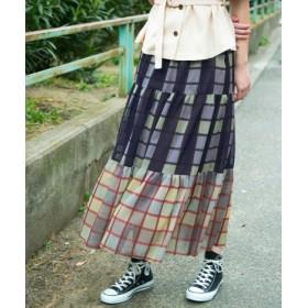 KBF(ケービーエフ) スカート スカート KBF+ ミックスチェックティアードスカート