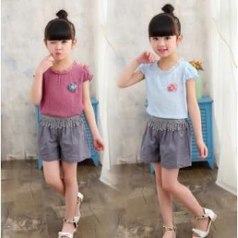 セットアップ 女の子 キッズ Tシャツ+パンツ ショートパンツ 2點セット カジュアル 子ども 可愛い ジュニア 夏新作