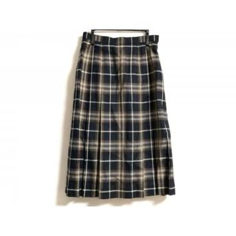 【中古】 バーバリーズ スカート サイズ9 M レディース ネイビー ダークブラウン 白 チェック柄