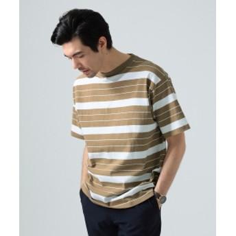 【予約】BEAMS LIGHTS / ヘビーウェイト ボーダー ビッグ Tシャツ メンズ Tシャツ BEIGE×WHT S