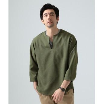 BEAMS LIGHTS / リネン調 7分袖 プルオーバーシャツ メンズ カジュアルシャツ GREEN M