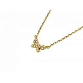 【中古】 アーカー AHKAH ネックレス 美品 K18YG ダイヤモンド 0.06カラット/蝶