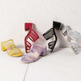 ベルーナ カラーチュールミュールサンダル パープル M(23.0~23.5cm) レディースサンダル ミュール ヒール 春 夏 靴 レディース 通販 大きいサイズ コーデ 安い おしゃれ お洒落 30代 40代 50代 女性