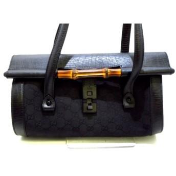 【中古】 グッチ GUCCI ハンドバッグ バンブー/GG柄 111713 黒 ジャガード レザー