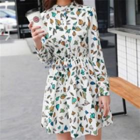 ブランド 新しい春ヴィンテージ弾性ウエストドレスシフォンoネック長袖花柄ドレス女性vestidos