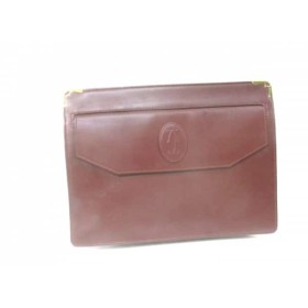 【中古】 カルティエ Cartier セカンドバッグ マストライン ボルドー レザー