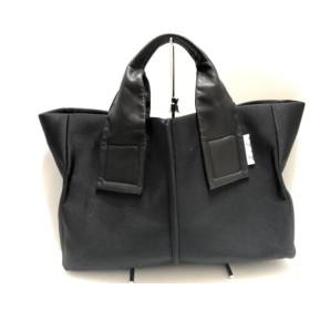 【中古】 カワカワ kawa-kawa トートバッグ 美品 黒 ポリウレタン レザー