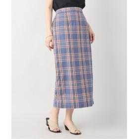 B.C STOCK マドラスチェックタイトスカート ブルー フリー